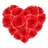Heart of red realistic roses. Happy Valentine day card Stock Photography