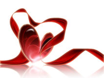 Heart with a red ribbon Stock Image