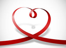 Heart with red ribbon. And shadow Royalty Free Stock Photo