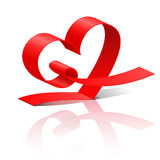 Heart from red ribbon Royalty Free Stock Photos