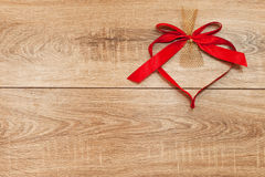Heart from red ribbon Stock Image