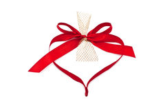 Heart from red ribbon. Isolated on white background stock image