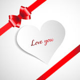 Heart and red ribbon bow. On a background. Vector illustration Stock Photo