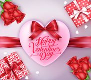 Heart with Red Ribbon and Happy Valentines Day Greeting. With Gifts and Flowers.  Vector Illustration Stock Photos