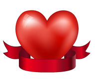 Heart and red ribbon Stock Photos