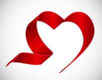 Heart from Red Ribbon Vector Illustration Royalty Free Stock Image