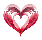 Heart of red ribbons Stock Photography