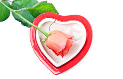 Heart and red rose Royalty Free Stock Photos