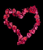Heart of red rose petals Stock Photos
