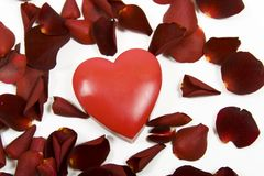 Heart with red rose petals Royalty Free Stock Images