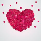 Heart of red rose petals. EPS 10 Stock Photography