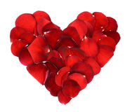 Heart of red rose petals Royalty Free Stock Photos
