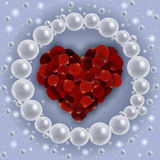 Heart of red rose petals with pearl frame stock illustration