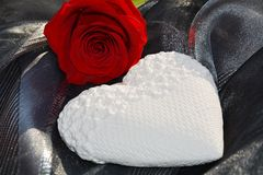 Heart and red rose. Valentine concept Stock Image