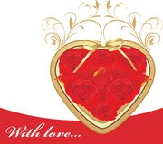 Heart with red roses Royalty Free Stock Images