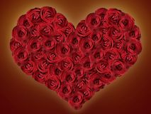 Heart of red roses on a dark background Royalty Free Stock Images