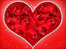 Heart of red roses. royalty free stock image
