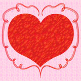 Heart with red roses on a pink background Stock Images