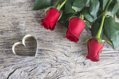 Heart and red roses for Valentines day Stock Photo