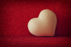 Heart on red shiny background Royalty Free Stock Photo