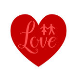 Heart red sign. Man and woman sign on shape heart Stock Images