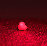 Heart On Red Sparkle Glitter background Stock Photos