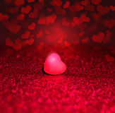 Heart On Red Sparkle Glitter background Stock Photography