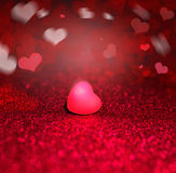 Heart On Red Sparkle Glitter background Royalty Free Stock Photos
