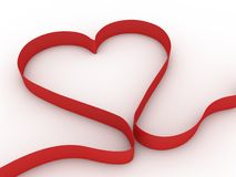 Heart red stripe. Abstract heart shape made of red ribbon. Computer render Royalty Free Stock Photos