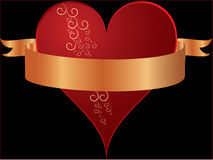 Heart in red with swirls and golden banner Royalty Free Stock Photo