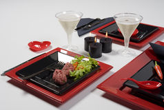 Heart red table set. With some food and drink Stock Image
