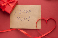 Heart of red tape and message Stock Photography