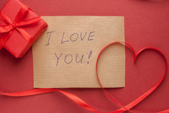Heart of red tape and message Royalty Free Stock Image
