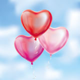 Heart Red transparent balloon on background. Frosted party balloons for event design. Balloons isolated in the air. Party decorations for birthday, anniversary Stock Photography