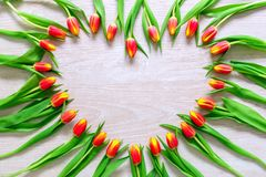 Heart from Red Tulips Flowers on rustic table for March 8, International Womens Day, Birthday , Valentines Day or Mothers day - Cl. Oseup stock image
