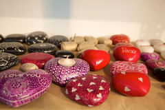Heart of red and white stones,  fair trade products in India Royalty Free Stock Image