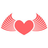 Heart red with wings. Red heart with wings flat Stock Photos