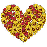 Heart of red and yellow flowers isolated on white background. Vector illustration. Heart of red and yellow flowers isolated on white background. Vector Royalty Free Stock Images