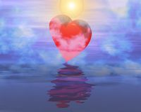 Heart reflection on sunset foggy sky. Rendered in 3d Stock Photos