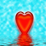 Heart reflection in water. With pastel cyan background Royalty Free Stock Images