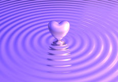 Heart reflects on water waves Royalty Free Stock Images