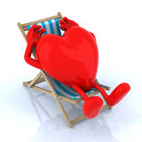 Heart relaxes in a beach chair Royalty Free Stock Photo