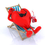 Heart relaxes in a beach chair Stock Photo