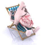 Heart relaxes in a beach chair. Human heart with arms and legs relaxes in a beach chair Royalty Free Stock Image