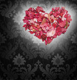 Heart on the Renaissance background. Heart made of petals of roses on the Renaissance background Royalty Free Stock Images