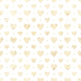 Heart repeat seamless pattern in white and beige Stock Images