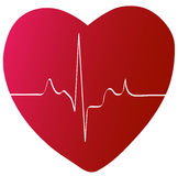 Heart with rhythm. Red heart with heart beat or rhythm - vector Royalty Free Stock Photos