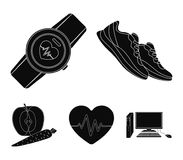 Heart rhythm, vitamins and other equipment for training.Gym and workout set collection icons in black style vector Stock Photos