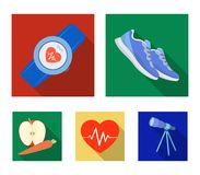 Heart rhythm, vitamins and other equipment for training.Gym and workout set collection icons in flat style vector symbol. Stock illustration Royalty Free Stock Image