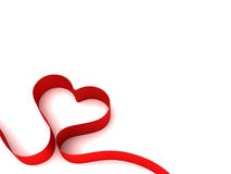 Heart from ribbon. Heart from red ribbon, Valentine day card background Royalty Free Stock Image